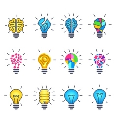 Light bulb idea creative icons vector