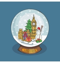 London Christmas Snow globeDoodle landmark vector