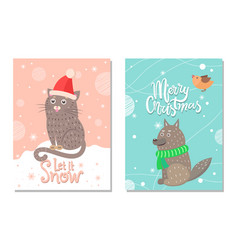 Merry christmas let it snow 70s theme postcard vector