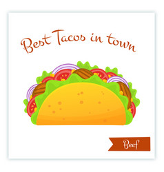 mexican cuisine fast food beef tacos food banner vector image