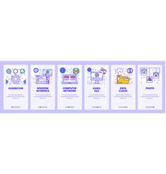 mobile app onboarding screens online computer vector image