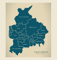 Modern map - lancashire county with detailed vector