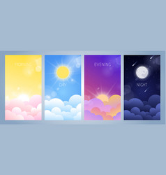 morning day evening and night sky vector image