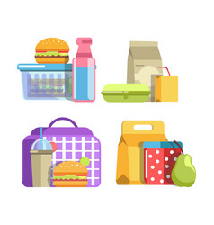 Nutritious school lunches in containers isolated vector