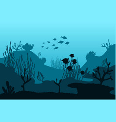 Ocean bottom silhouette seaweed beautiful vector