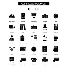 Office glyph icon set vector