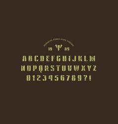 original stencil-plate sans serif font vector image