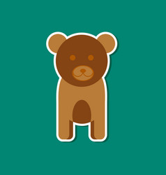 Paper sticker on stylish background cartoon bear vector