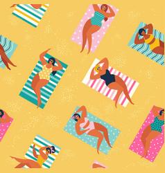 people at beach or seashore relaxing vector image