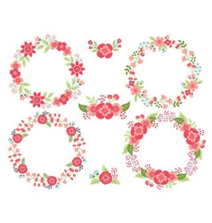 Pink Wreath Set vector image