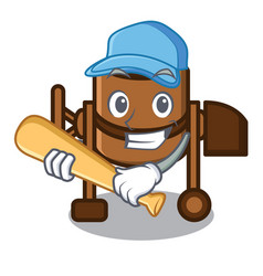 playing baseball concrete mixer character cartoon vector image