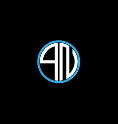 Q n letter logo creative design on black color vector