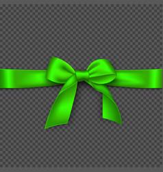 realistic bright green bow and ribbon vector image