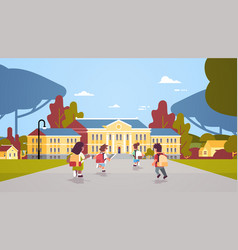 rear view children group with backpacks running vector image