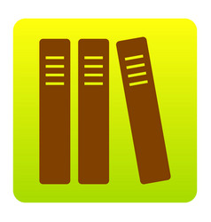 row of binders office folders icon brown vector image