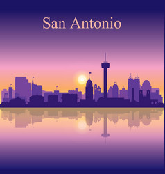 san antonio silhouette on sunset background vector image