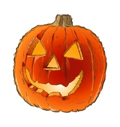 Scary jack o lantern halloween pumpkin vector