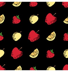 Seamless pattern of fruits and berries on black vector image