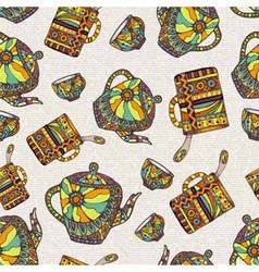 Seamless pattern with teapot and cup vector image