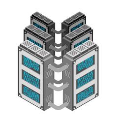 server data center isometric style internet vector image
