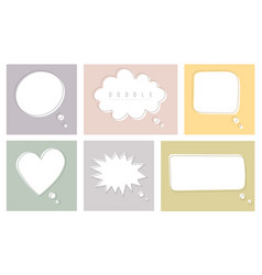 set color speech bubbles in drawing style vector image