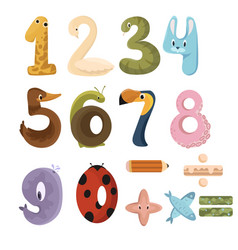 Set numbers with animals collection animals vector