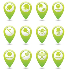 Set of 12 sport GREEN map pointer vector