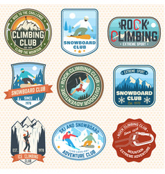 set of snowboarding and rock climbing club patches vector image