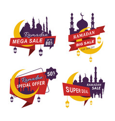 Set ramadan sales ribbons banner tag labels vector
