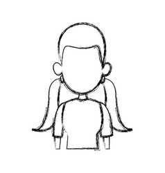silhouette drawing of faceless half body woman vector image
