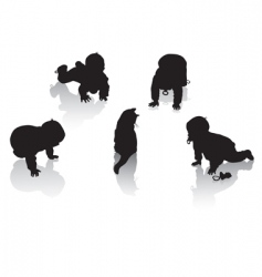 Silhouettes childhood vector