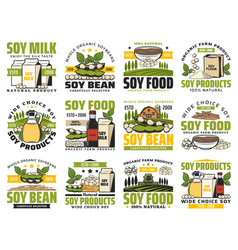 Soy milk and organic soybean vegan products vector