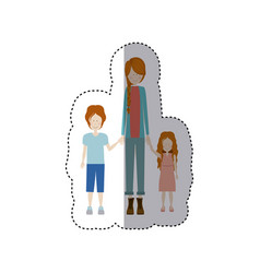 Sticker color silhouette with kids and mom with vector