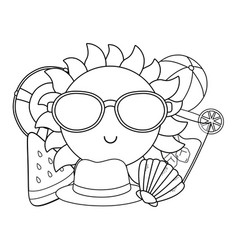 summer time and travel cartoon in black and white vector image