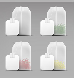 Tea bags set isolated on grey background teabags vector