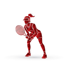 Tennis player action woman play tennis vector