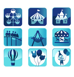theme park icons vector image