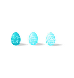three easter eggs in blue color with ornaments vector image