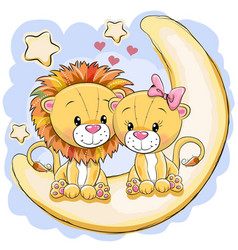 Two cute lions is sitting on the moon vector