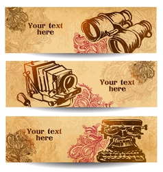 Vintage banners drawn by hand vector