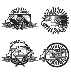 Vintage Food truck emblems vector image