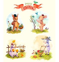 Watercolor vintage style easter collection cute vector