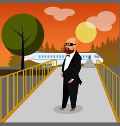 Wealthy man in airport flat vector