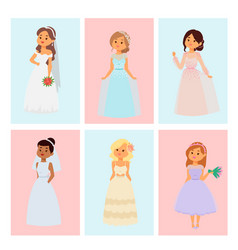 Wedding brides characters card vector