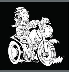 white contour biker pattern on a black background vector image