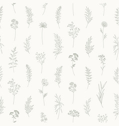 Wildflowers seamless pattern in thin line vector