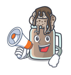 With megaphone milkshake character cartoon style vector