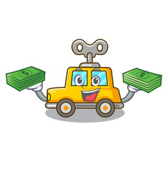 With money cartoon clockwork toy car for gift vector