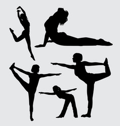 Yoga sport female action silhouette vector