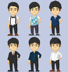 Young Man Character Set vector image